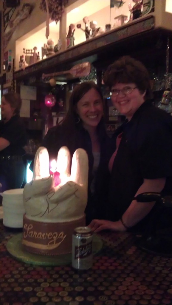 Sarah Pederson (left) and Sugar Pimp's Lori Adams Clinton at Saraveza's 3rd Anniversary Celebration
