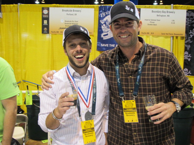Breakside brewmaster Ben Edmunds (left) with a GABF silver medal for his Dry Stout and Breakside co-owner Scott Lawrence