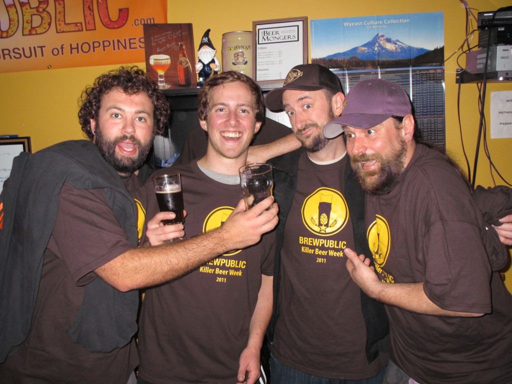 Adam, Charlie, Aaron Brewpublic, and Jay Webb at The BeerMongers for Brewpublic's Killer Central Oregon Beer Night