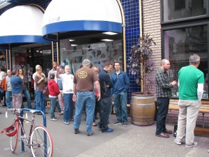 Line to get in to KillerBeerFest 3 at Bailey's Taproom 10/22/11