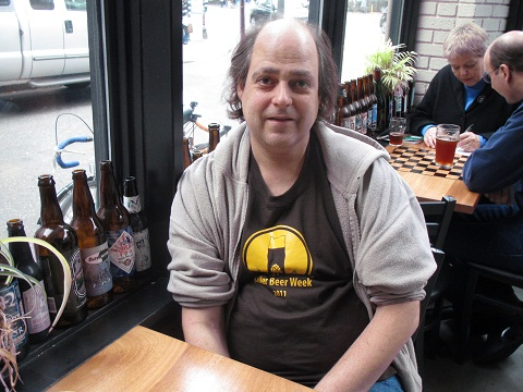 Byron DeLuca representing the KillerBeerWeek 2011 t-shirt at Bailey's Taproom during KillerBeerFest