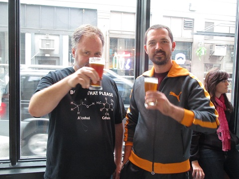 Double Mountain co-founder Charlie Devereux (left) and MacTarnahan's brewmaster Thomas Bleigh at KillerBeerFest 3