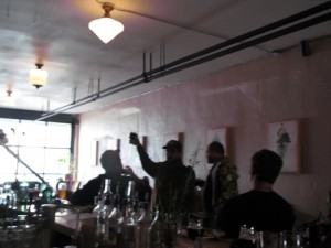 Angelo of Brewpublic toasts the brunch crowd and brewers at The Hop & Vine's KillerBeerWeek Recovery Brunch on 10/13/11