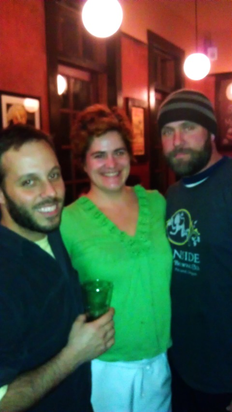 L to R: Breakside brewer Ben Edmunds, Spints Alehouse owner Alyssa Gregg, and Burnside brewer Jason McAdam