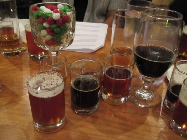 multifarious beers sampled at Lompoc's media holiday beer tasting
