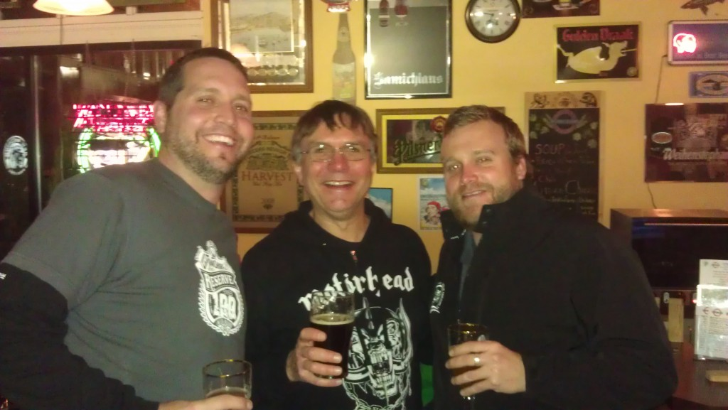L to R: Oakshire Brewmaster Matt Van Wyk, Belmont Station owner Carl Singmaster, and Oakshire Brand Manager Micah Bell