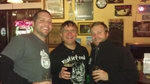 L to R: Oakshire Brewmaster Matt Van Wyk, Belmont Station owner Carl Singmaster, and Oakshire Brand Manager Micah Bell