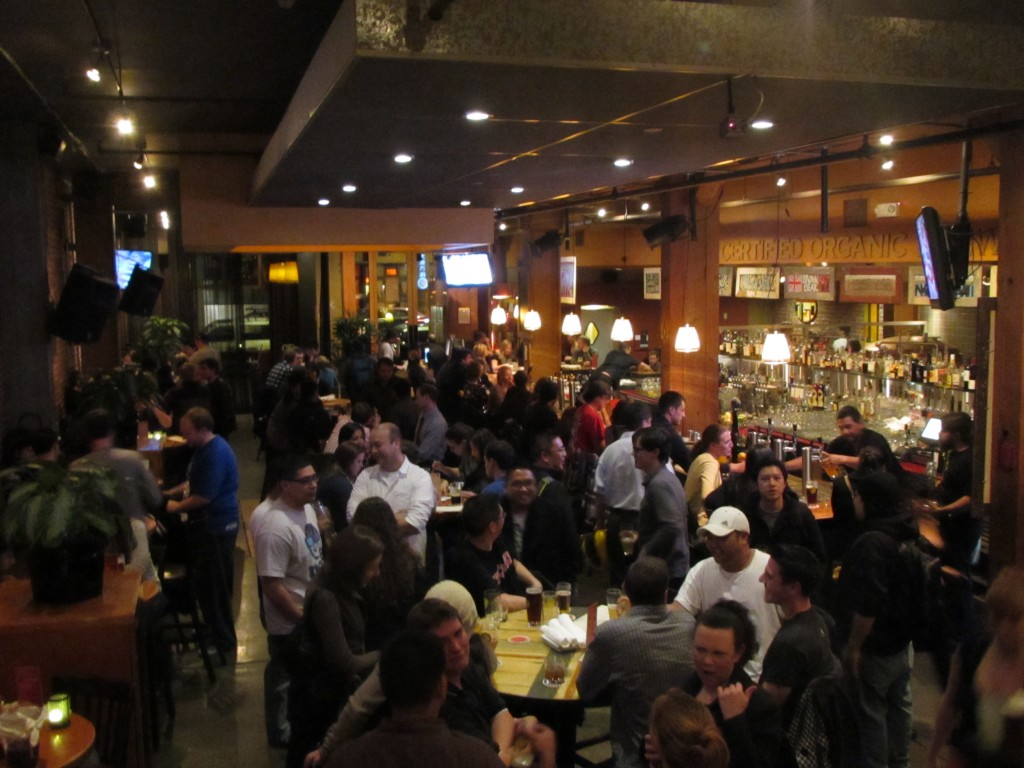 Friday night crowd at Thirsty Bear Brewpub in San Francisco, CA