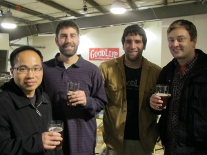 Roscoe's publicans Quyen Ly (left) and Jeremy Lewis (right) with Chris Nelson and Curt Plants of GoodLife Brewing