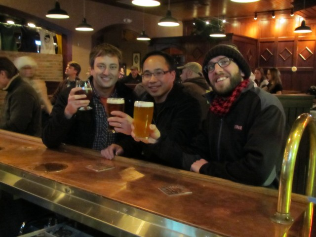 Jeremy, Quyen, and Angelo at Deschutes brewpub in Bend