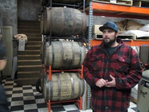 Clay Storey of Boneyard Beer by barrels