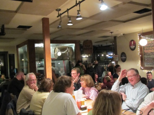 Bustling Friday night crowd at 10 Barrel Brewing's restaurant and pub in Bend, OR