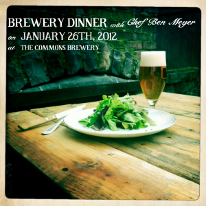 Brewery Dinner with Chef Ben Meyer at the Commons Brewery