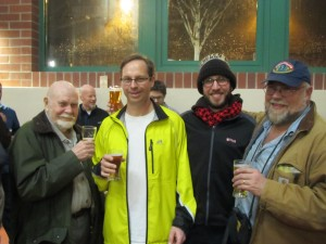 L to R: Beer guru Fred Eckhardt, Bill from It's Pub Night, Angelo from Brewpublic, and John Foyston of The Oregonian's The Beer Here