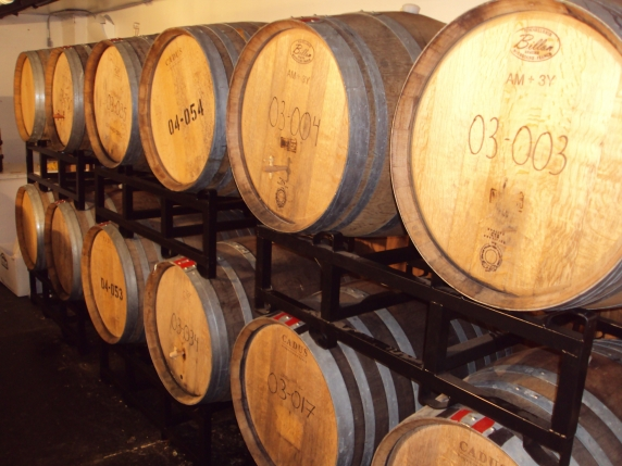 Barrels at Block 15 Brewery