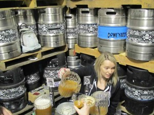 Melodee Storey of Boneyard Beer pouring samples of brite beers for Zwickelmania 2012