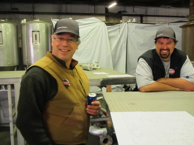 """Brewmaster Larry Sidor (left) and co-founder Dave Wilson of """"Yet To Be Named"""" Brewery in Bend, OR"""