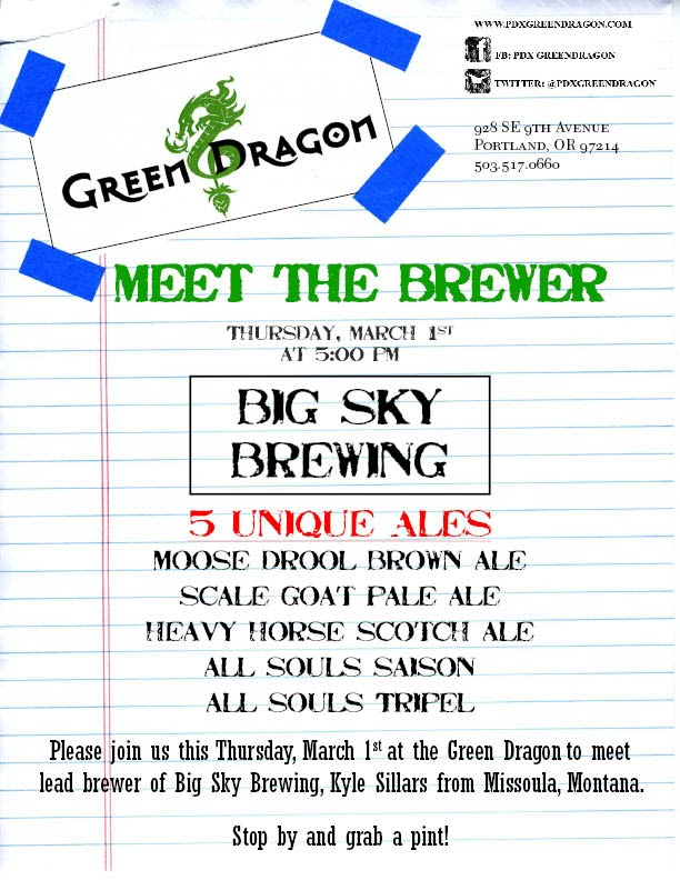 Big Sky Brewing meet the brewer at Green Dragon