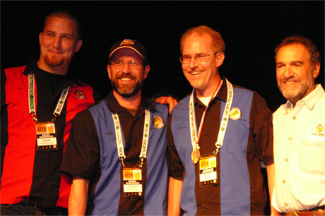 L to R: Ben Love, Todd Campbell, Darron Welch, and Dr. Charlie Papazian (photo by Jay Brooks of Brookston Beer Bulletin)