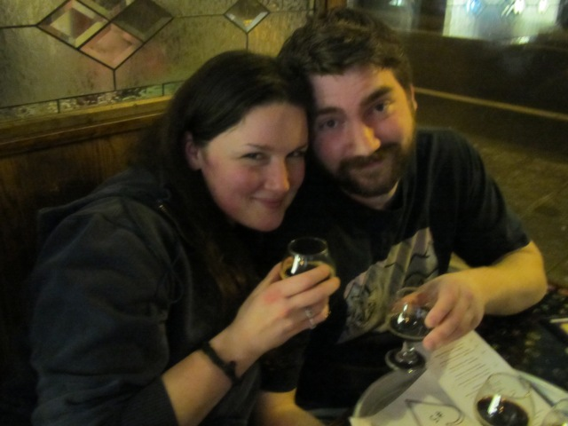 Beery sweethearts Brighid Lane and Travis Hackett enjoy samples of decadent beer at Saraveza's My Beery Valentine 3