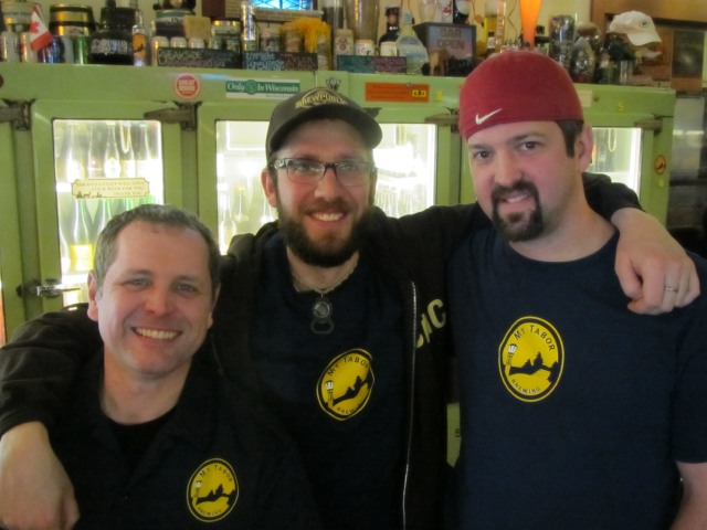 Vancouver, WA brewers Duke Geren (left) and Eric Surface (right) of Mt. Tabor Brewing with Angelo of Brewpublic at Beery Valentine 3 @ Saraveza