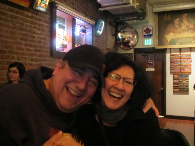 By The Bottle founders Dave and Arlene Nunez share a laugh and a beer at My Beery Valentine 3 @ Saraveza