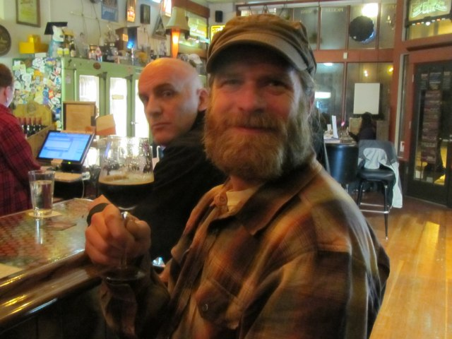 Alameda head brewer Carston Haney (right) and Widmer brewer Doug Rehberg sample the wares at My Beery Valentine 3 @ Saraveza