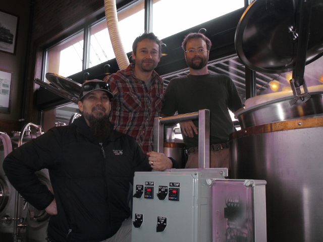 Old Town Pizza Brewing: L to R: Turnkey Brewery Consulting Group's Craig Nicholls, Old Town Pizza proprietor Adam Milne, and Old Town Pizza head brewer Scott Guckel