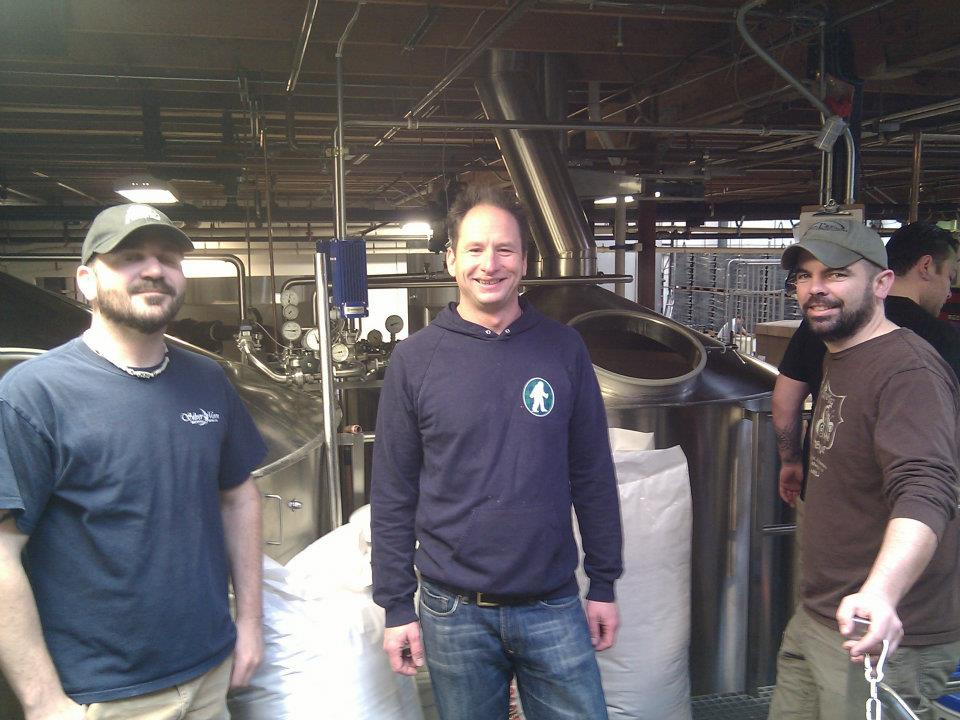 Getting ready to brew wheat wine for the Sasquatch Legacy Brew with Brett Thomas (Silver Moon), Dave Pendelton (Dick's), and Jamie Floyd (Ninkasi). Wow they make a lot of beer here at Ninkasi, if you didn't know. (photo by Jason Carriere)