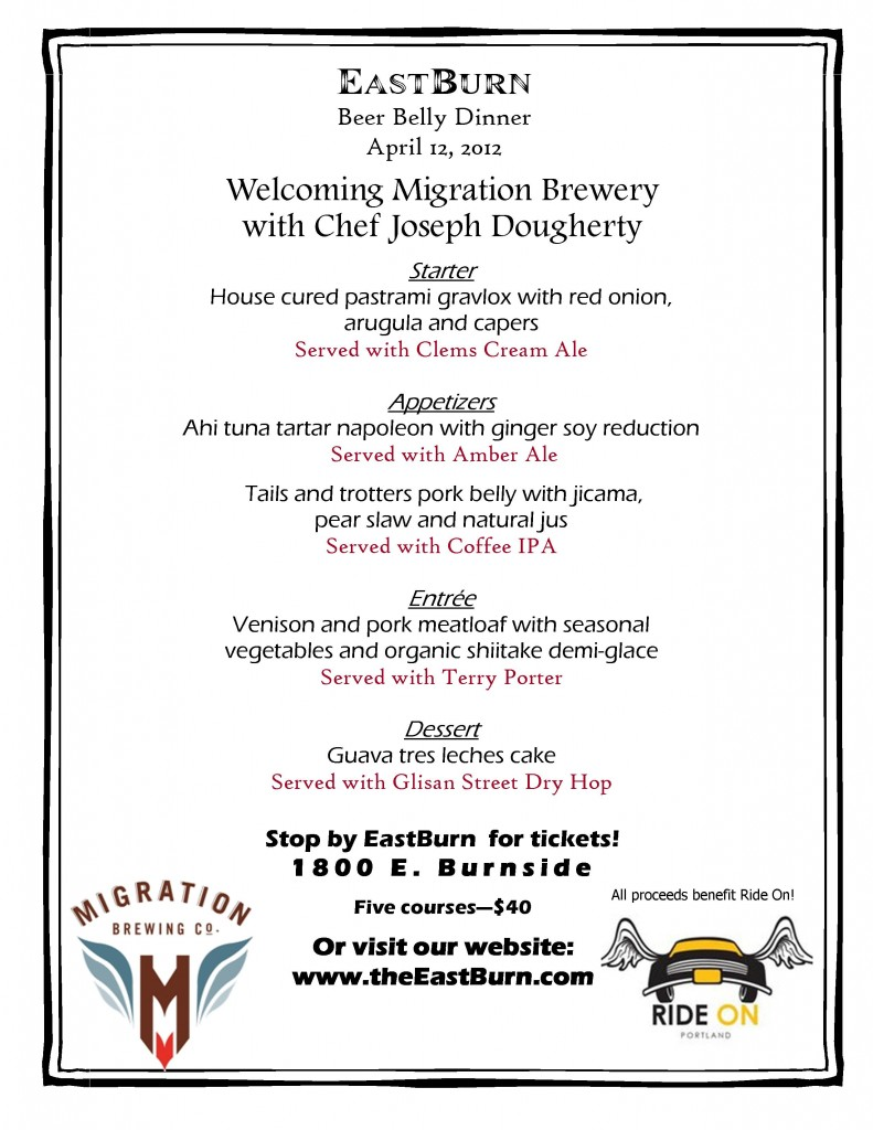 Migration Beer Belly Dinner at EastBurn