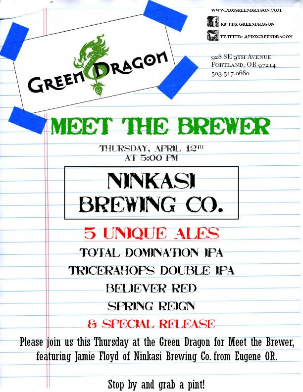Ninkasi Brewing Co Meet the Brewer at Green Dragon