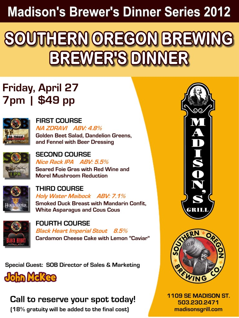 SOB Beer Dinner at Madison's
