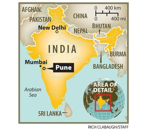 Pune, India on a map