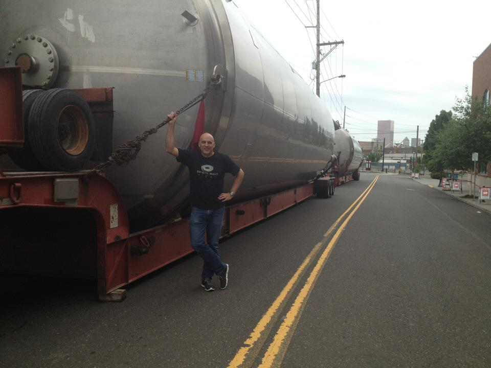 Widmer Bros. brewer Doug Rehberg with the brewery's new fermenters