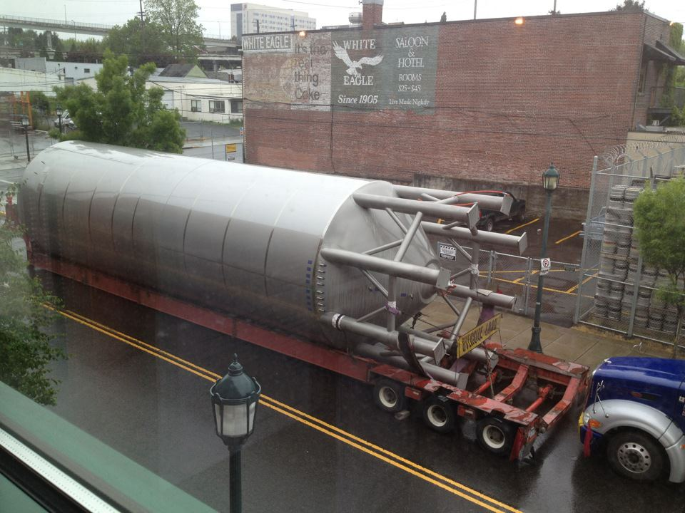 Widmer tanks arrive on North Russell Street (photo by Doug Rehberg)
