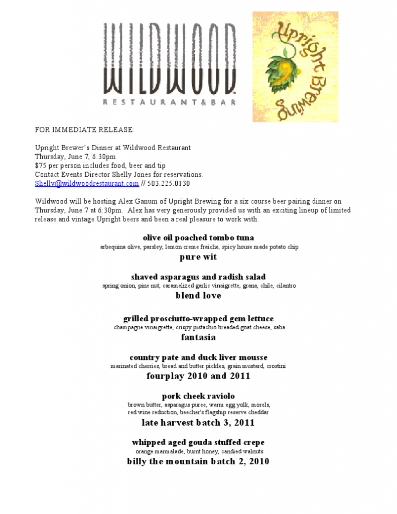 Wildwood  & Upright Beer Dinner