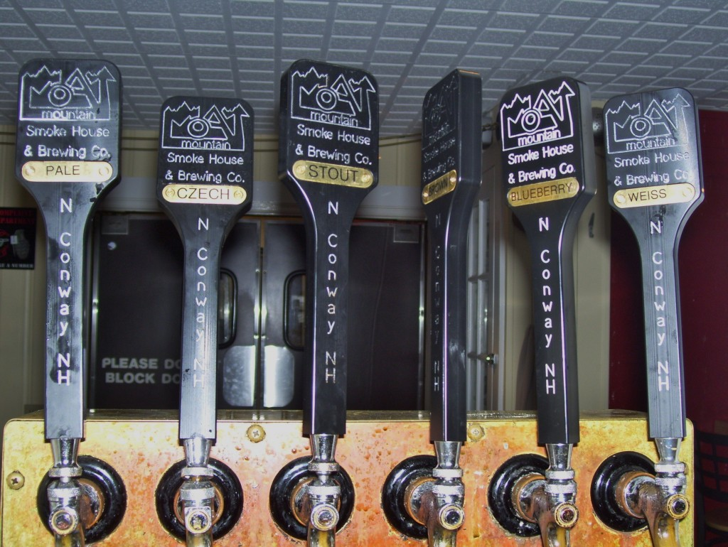 Tap handles at Moat Mountain Smoke House and Brewery
