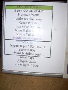 Tap menu at Moat Mountain