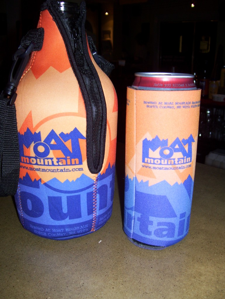 Moat Mountain growler and can cozies