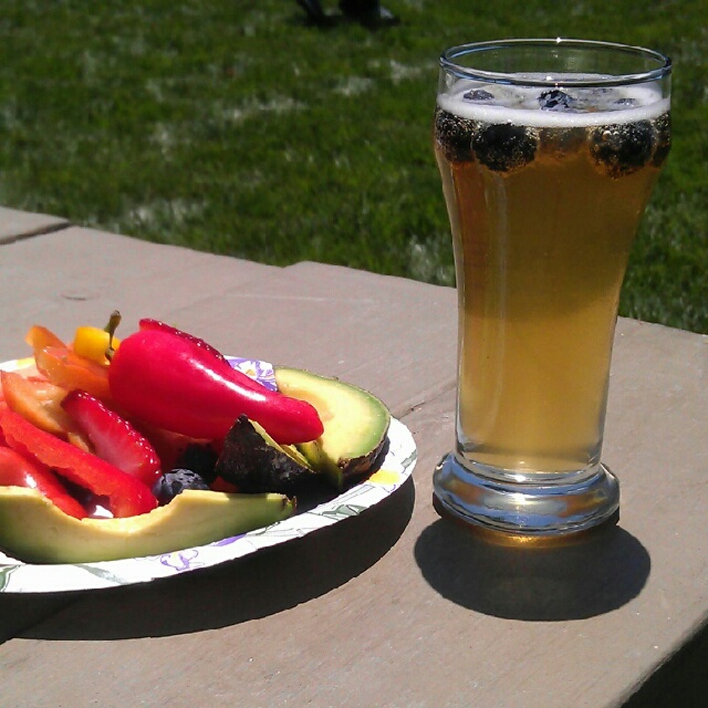 Marin Bluebeery Ale with fresh fruits and veggies from Andy's Produce Market
