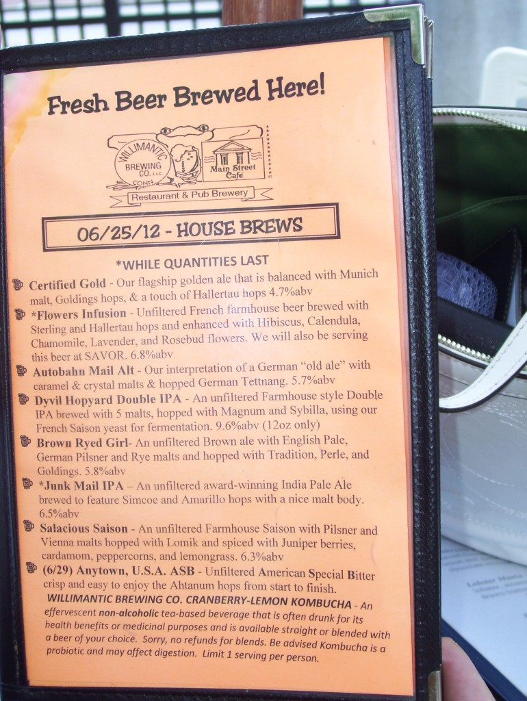 Willimantic Brewing tap menu