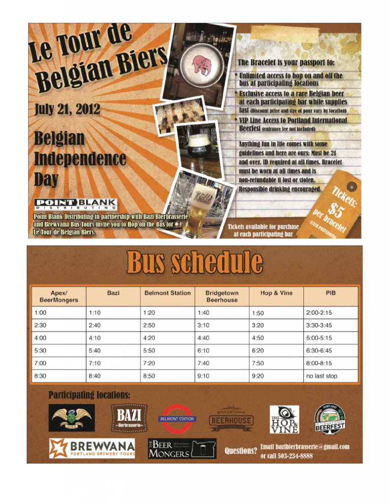 Bazi Bierbrasserie and Brewvana Bus Tour presents Le Tour de Belgian Biers