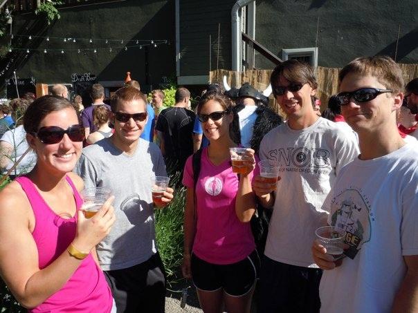 Beer & Running - Jen Sotolongo (center in pink) with friends enjoying the health benefits of craft beer