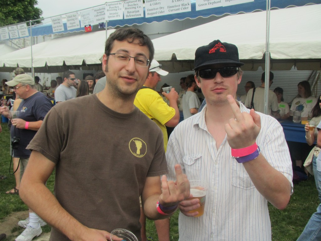 Upright Brewing brew crew Alex Ganum (left) and Gerritt Ill at 2012 NAOBF