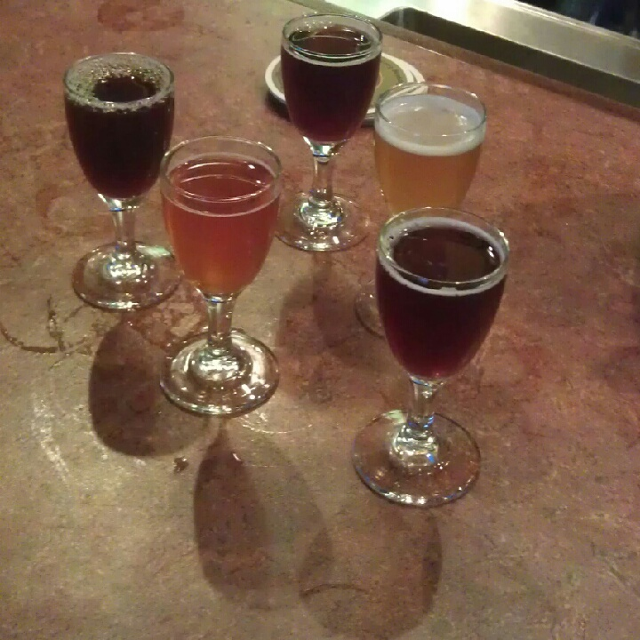 Samples of sour beer at Cascade Barrel House