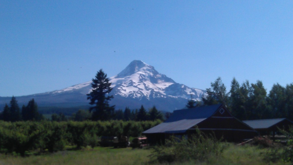 Mt. Hood, Oregon's tallest peak, seen from Parkdale, OR