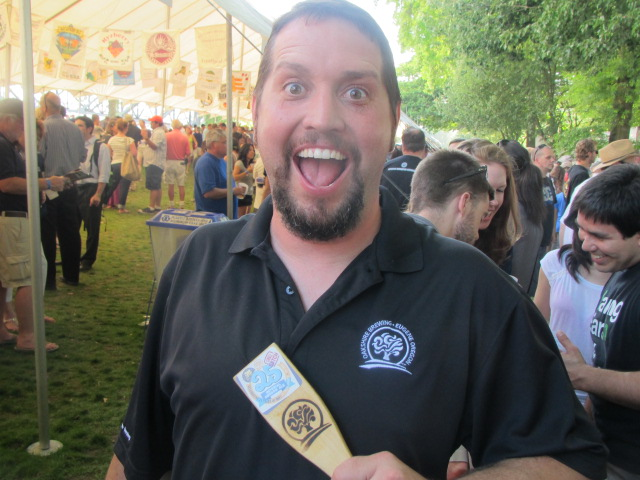 Oakshire brewer Matt Van Wyk handles things at OBF