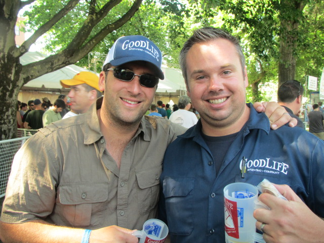 Living the GoodLife (Brewing) at OBF: Brewer Curt Plants (left) and co-founder Ty Barnett