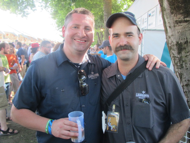 Laurelwood crew representing at OBF: James Buxton (left) and brewer Vasilios Gletsos