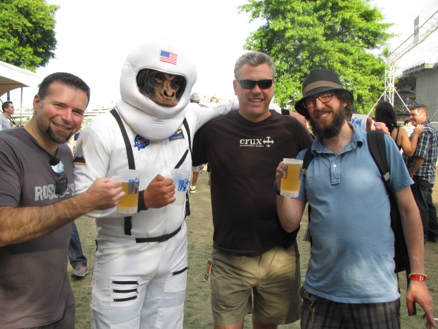 Monkeying Around at the Oregon Brewers Festival L to R: Ritch Marvin, 21st Amendment Bitter American AstroMonkey, 21st Amendment co-founder Nico Freccia, and Angelo